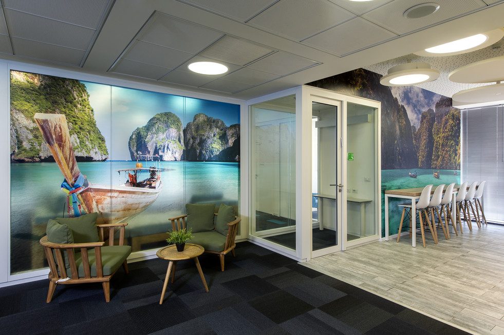 Wall graphics with glass partition