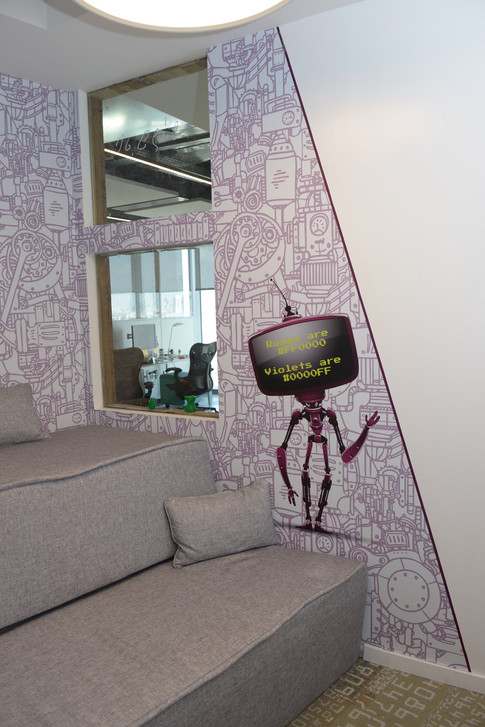 Wall graphics in phone booth