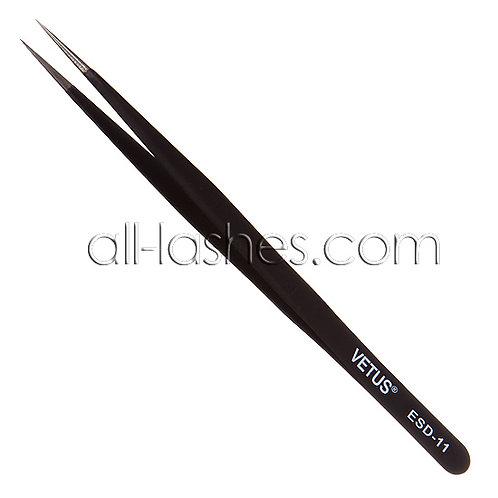 """Vetus"" straight tweezers ,black ESD-11"