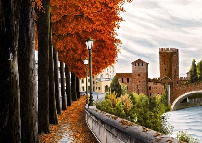 65) Verona, riva San Lorenzo d'autunno