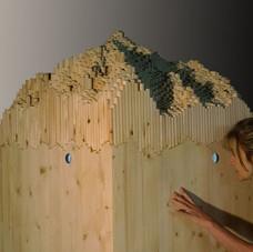 25_Les Manteillons du Mont Blanc, 2014, legno, 3D video animazione, 165 x 75 x 75 cm, veduta dell'installazione (foto Paolo Terrile)