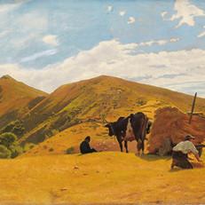 3.O.Borrani_Mietitura a San Marcello. La raccolta del grano sull'Appennino_1861_Olio su tela, cm. 54x126,5_Istituto Matteucci, Viareggio