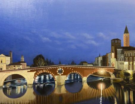 01) Verona, Ponte Pietra di notte