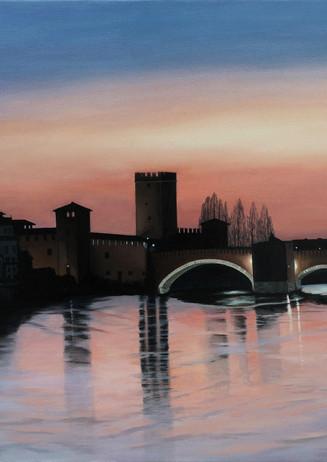 68) Verona, Castelvecchio al tramonto