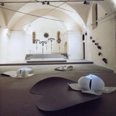 3_In Corporea Mente, 1993, veduta dell'installazione. Torre del Lebbroso, Aosta, 1993 (foto Ernani Orcorte)