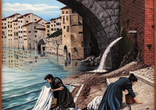 60) Verona scomparsa, lavandaie all' Adige