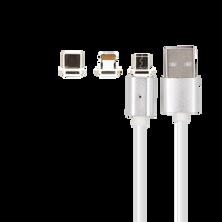 Cordon 3 en 1 aimanté USB / Lightning + USB-C + Micro USB
