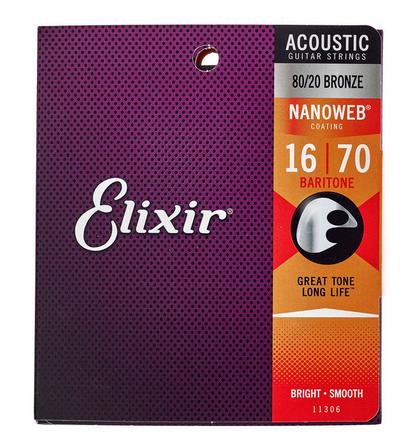 Elixir Nanoweb  מיתרים לגיטרה אקוסטית בריטון