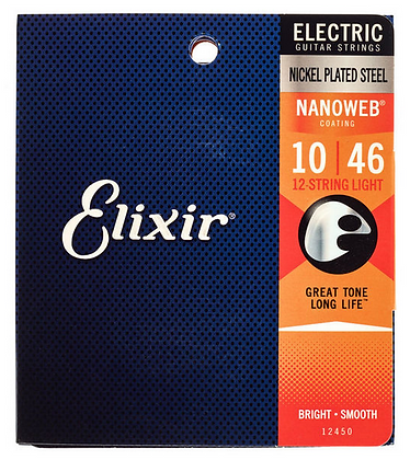 Elixir 12450 Nanoweb סט מיתרים לגיטרה חשמלית 12 מיתרים