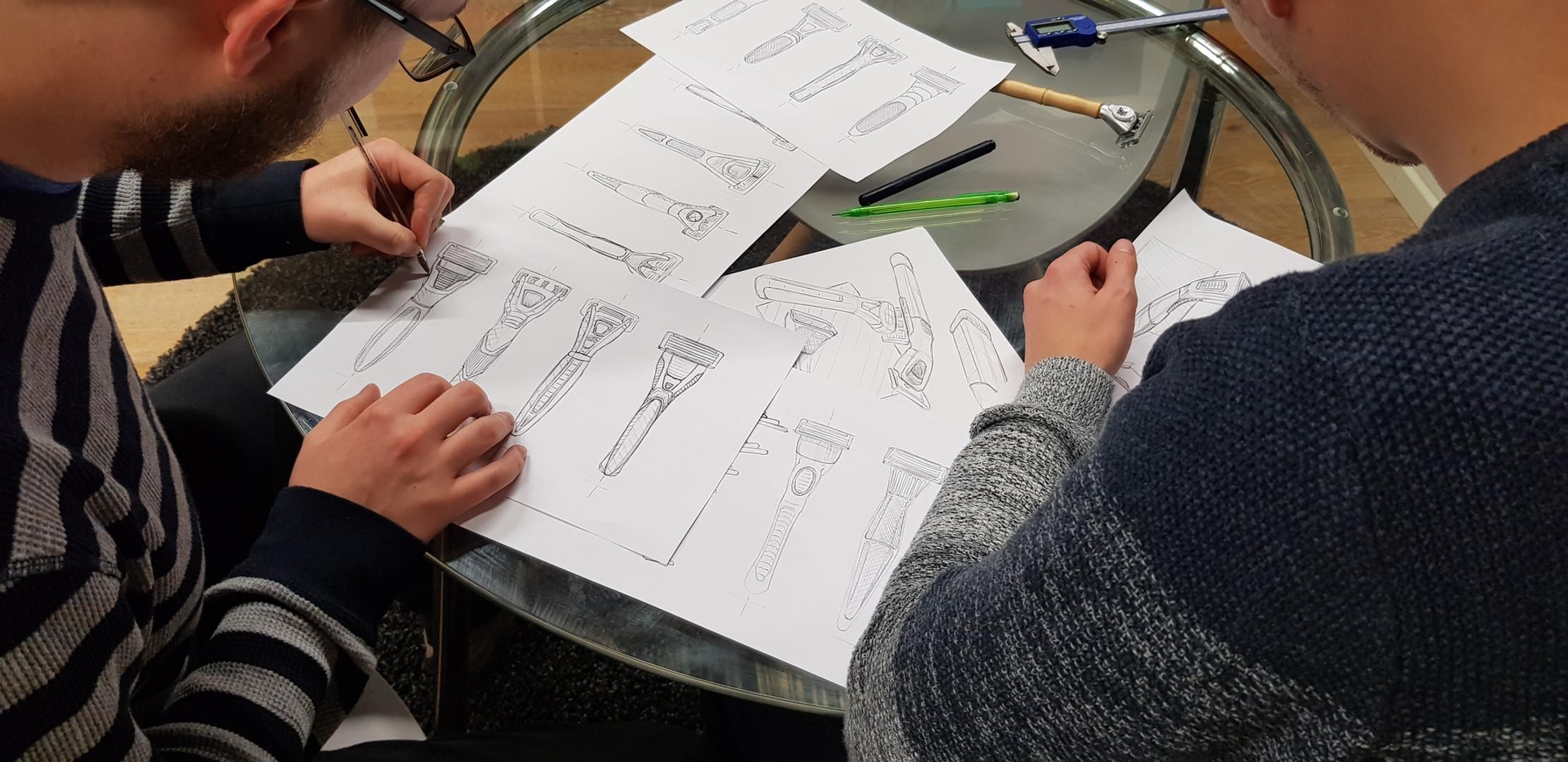 Sketching razor handle designs
