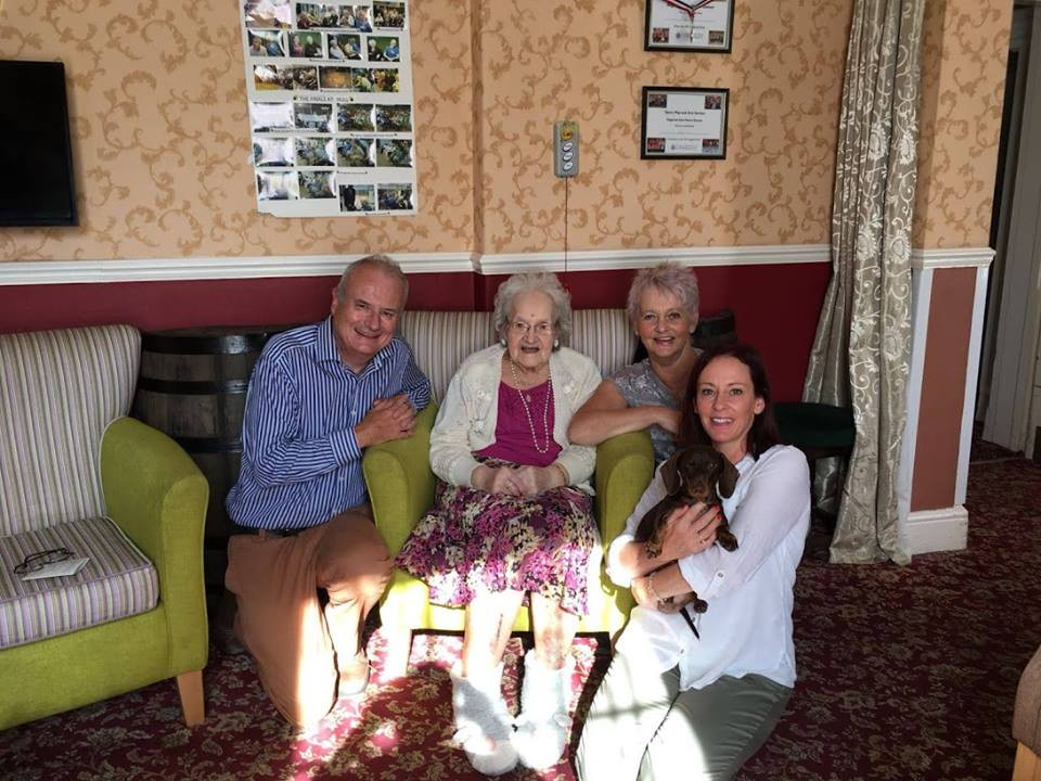 Pictured are Cllr Healy, Gladys Duffill, her daughter Ann and granddaughter Sally at Figham House
