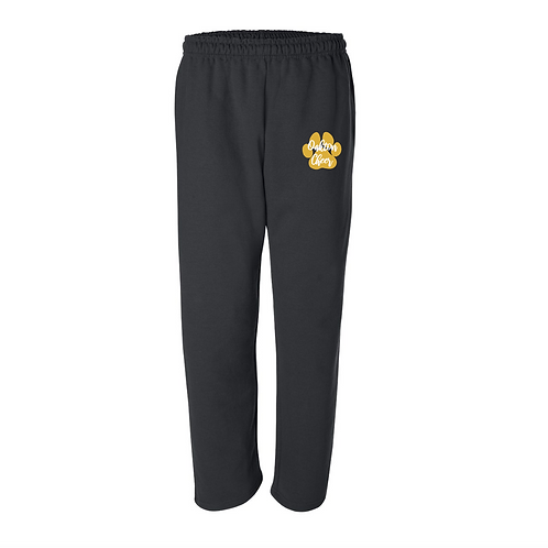 Open Bottom Black Sweatpants