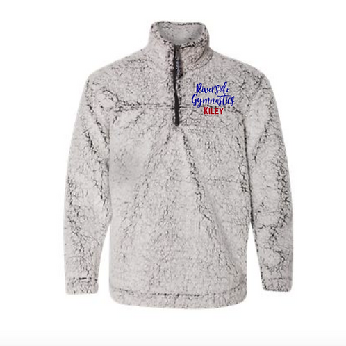 Embroidered Sherpa Quarter-Zip Pullover