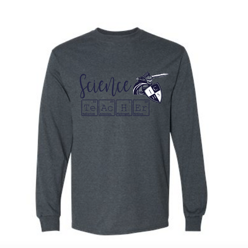Gray Long Science Teacher Sleeve Tee
