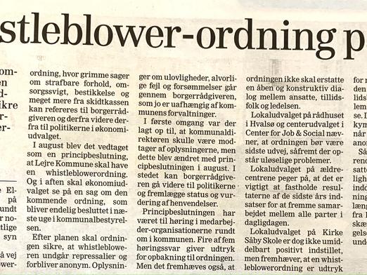Endelig er Lejre også på Whistleblower ordning