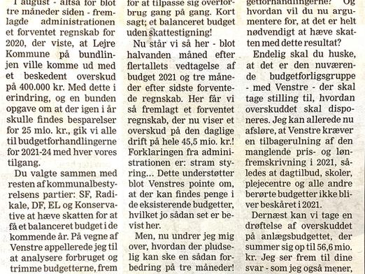 Budget rod igen igen - nu kr. +45 mio. i overskud?