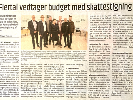Budget 2021 vedtaget, uden Venstre