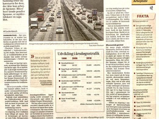 Hjemmearbejde reducerer generelt trafikbelastningen i Danmark