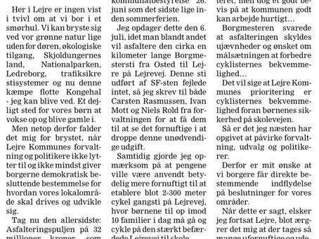 Trafiksikkerhed for børn prioriteres bagerst i Lejre Kommune