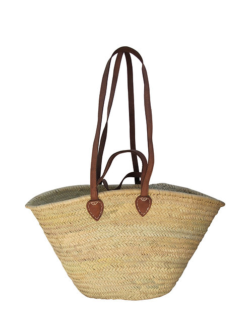 Classic Summer Basket - Double Leather Handle