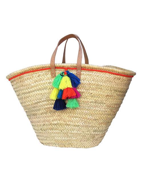 Summer Basket Tassel Tote - Neon Orange