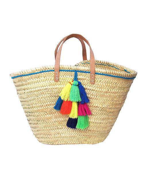 Summer Basket Tassel Tote - Blue