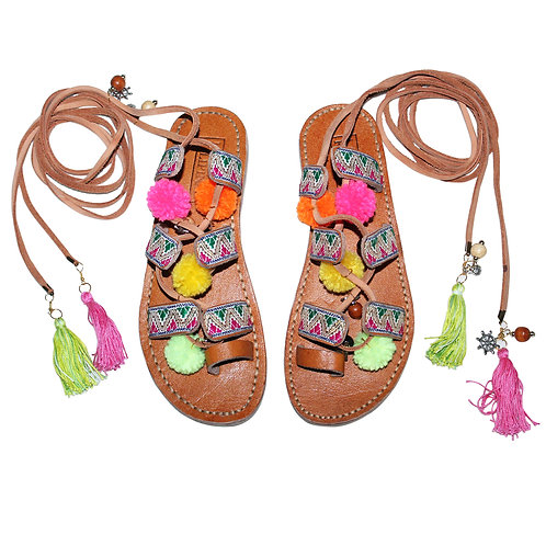 Lace Up Pom Pom Sandals - Fluoro Neon