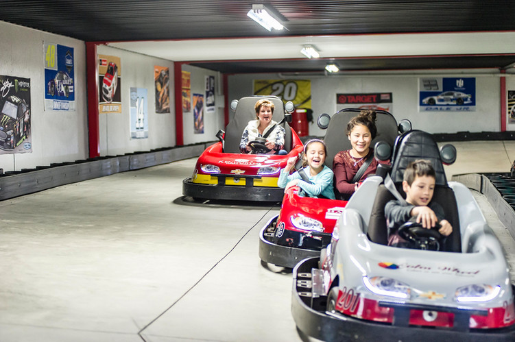 Guests enjoying the indoor/outdoor go-kart track at Hickory Fall