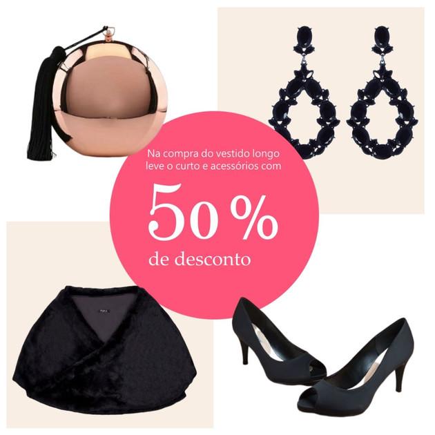 Leve qualquer acessório da loja com 50% de desconto na compra do vestido longo. Estolas, sapatos, clutches e biju