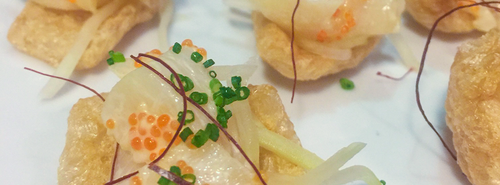 Baby Scallops with Masago topped with Green Apples on a Crunchy Pork Rind