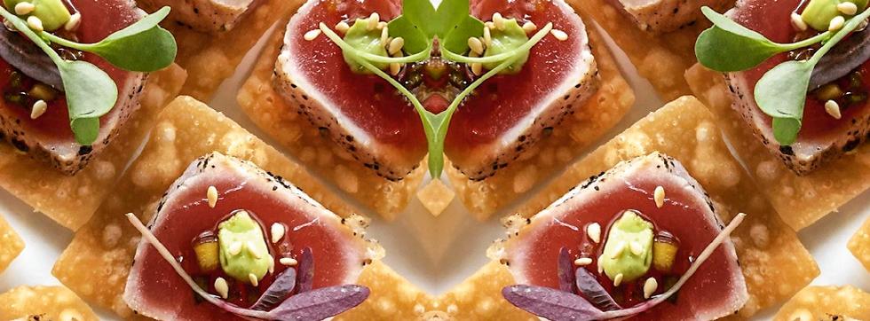 Seared Bluefin Tuna with a Ginger Ponzu and Avocado Cream on a Crispy Wonton