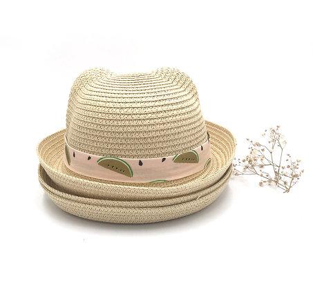 Chapeau de paille pastèque