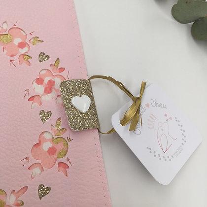 Protège carnet de santé en simili cuir couronne de fleurs en miller