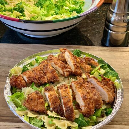 Pasta Caesar Salad with Fried Chicken