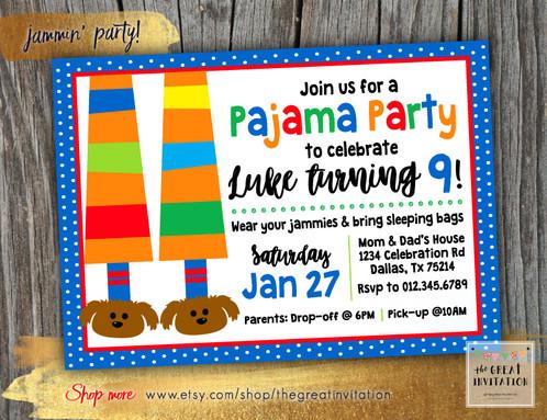 Pajama party birthday invitation filmwisefo