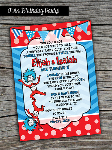 Dr Seuss Thing 1 2 Printed Invitations