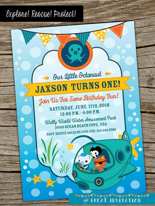 Octonauts Underwater Theme Birthday Party Invite