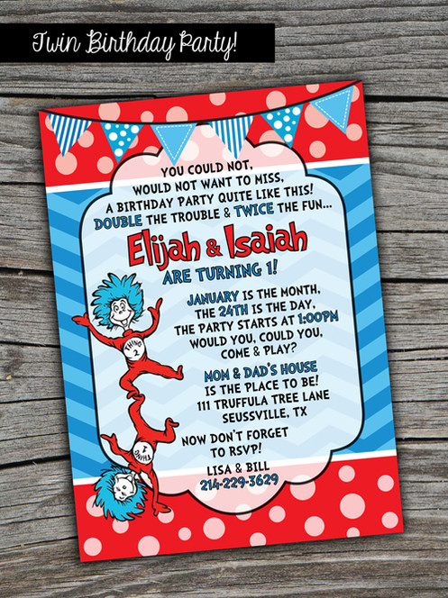 Thing 1 2 Dr Seuss Printable Twin Invitation