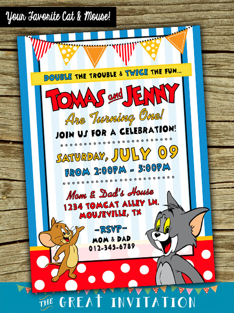 Tom And Jerry Theme Printed Birthday Invitation