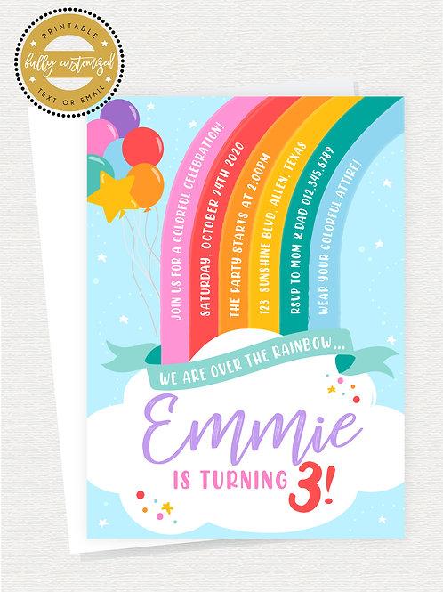 Rainbow Bright Birthday Invite