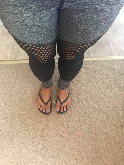 Grey & Black Fishnet Yoga Pants