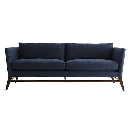 Cartney Sofa Indigo Flannel Dark Walnut