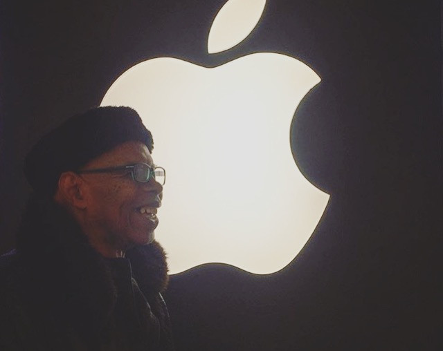 Uncle Birdsong visits Apple with us for equipment purchases.