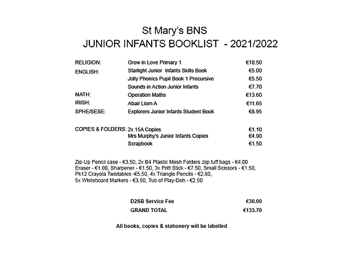 St Mary's BNS Junior Infants