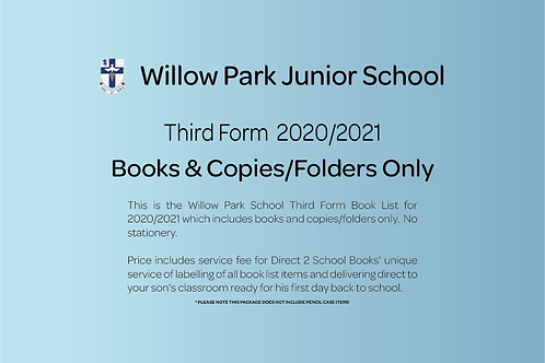 Third Form Books & Copies Only (no stationery)