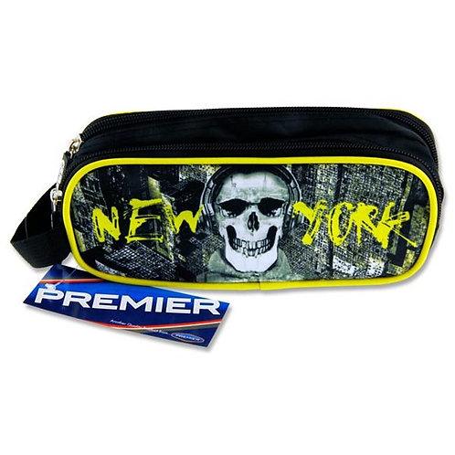 2 Pocket Pencil Case - New York Skull