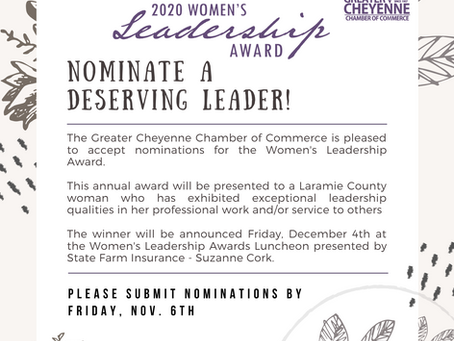 Now Accepting Women's Leadership Award Nominations