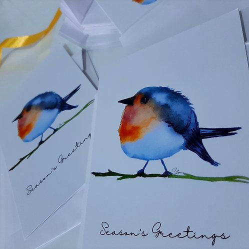 Greeting Card with Robin Bird Watercolour Art