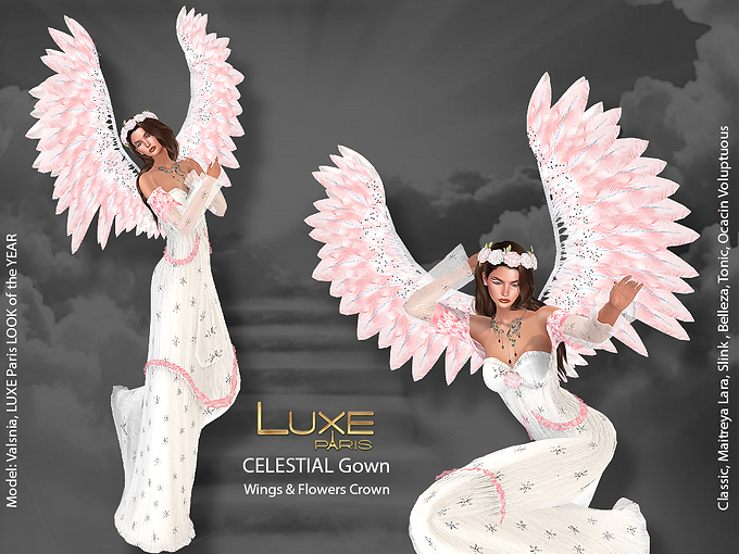 LUXE Paris CELESTIAL Gown Wings Flowers Crown.png