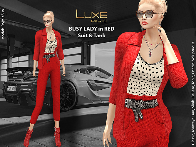 LUXE Paris BUSY LADY in RED Suit and Tank.png
